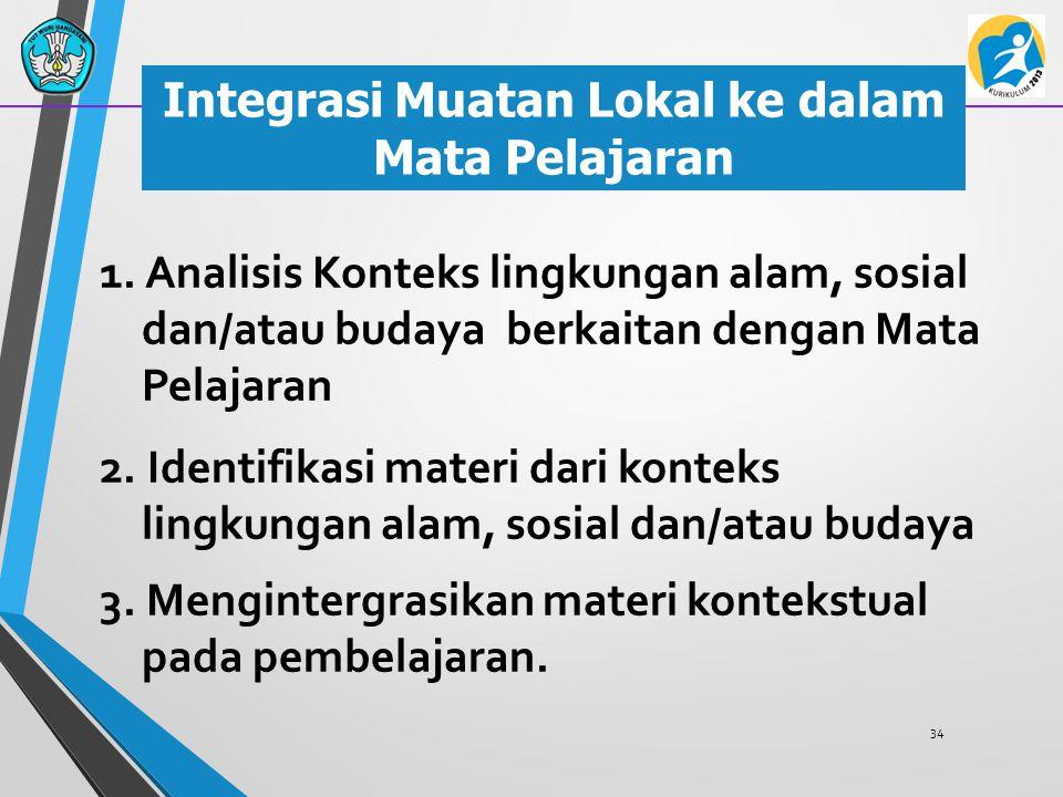 34 Integrasi Muatan Lokal ke dalam Mata Pelajaran 1. Analisis Konteks lingkungan alam, sosial dan/atau budaya berkaitan dengan Mata Pelajaran 2. Ident