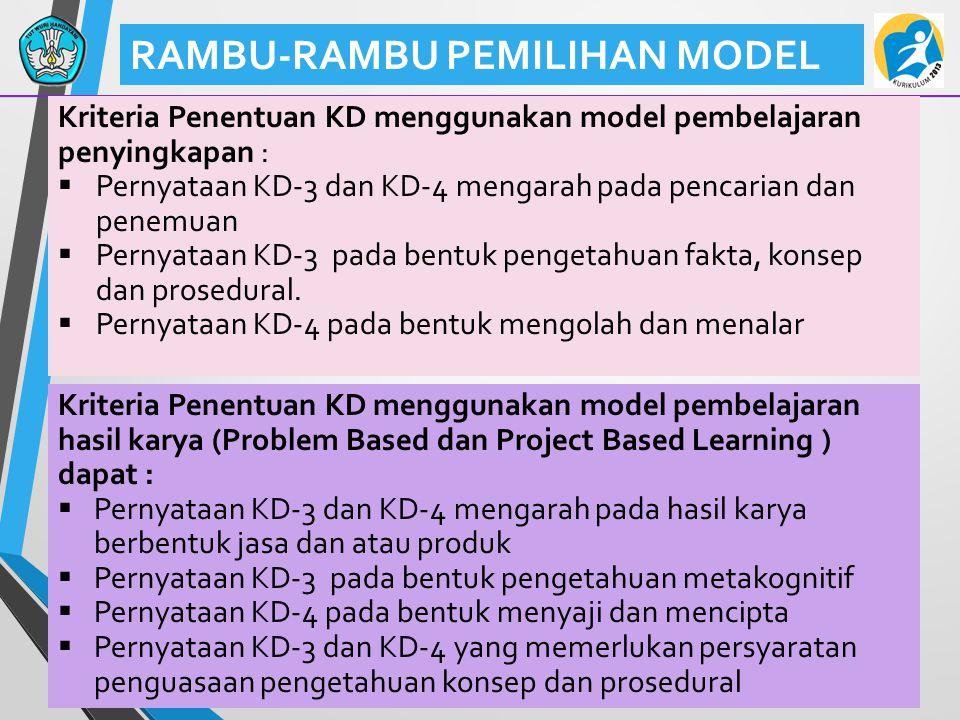 42 RAMBU-RAMBU PEMILIHAN MODEL Kriteria Penentuan KD menggunakan model pembelajaran penyingkapan :  Pernyataan KD-3 dan KD-4 mengarah pada pencarian