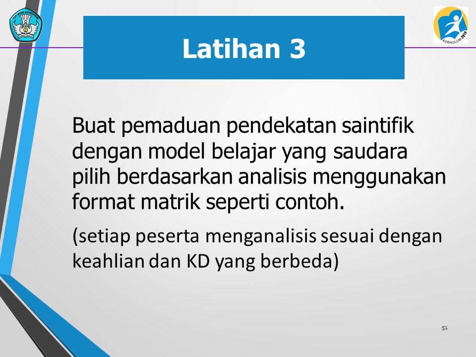Latihan 3 Buat pemaduan pendekatan saintifik dengan model belajar yang saudara pilih berdasarkan analisis menggunakan format matrik seperti contoh. (s