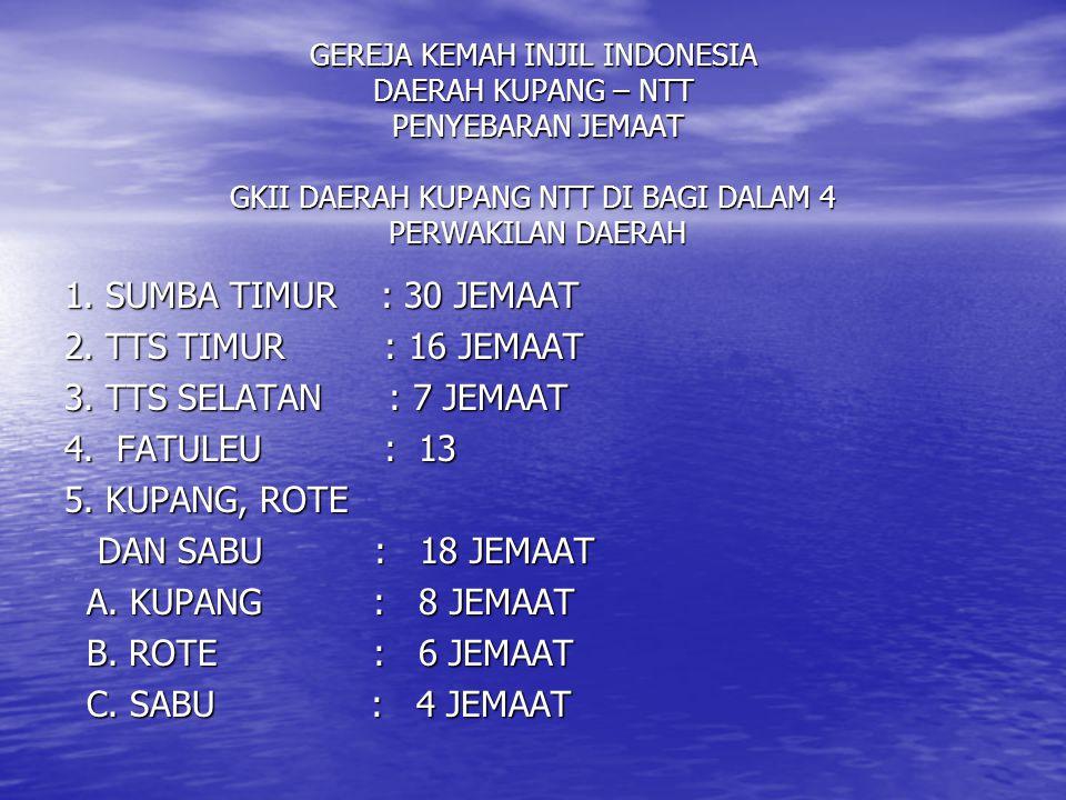 GEREJA KEMAH INJIL INDONESIA DAERAH KUPANG –NTT DATA UMUM JEMAAT GKII AKHIR JUNI 2006 1.