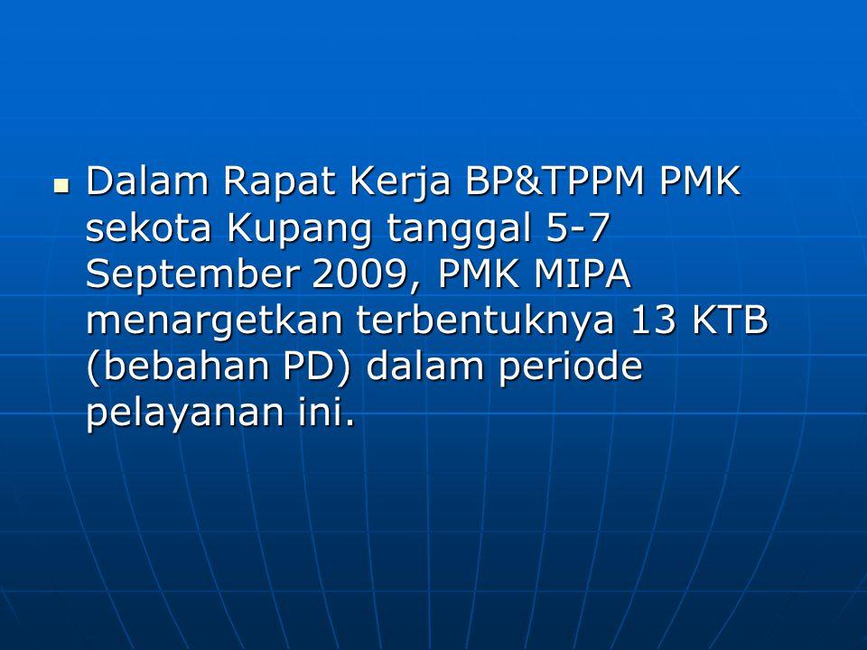 Dalam Rapat Kerja BP&TPPM PMK sekota Kupang tanggal 5-7 September 2009, PMK MIPA menargetkan terbentuknya 13 KTB (bebahan PD) dalam periode pelayanan