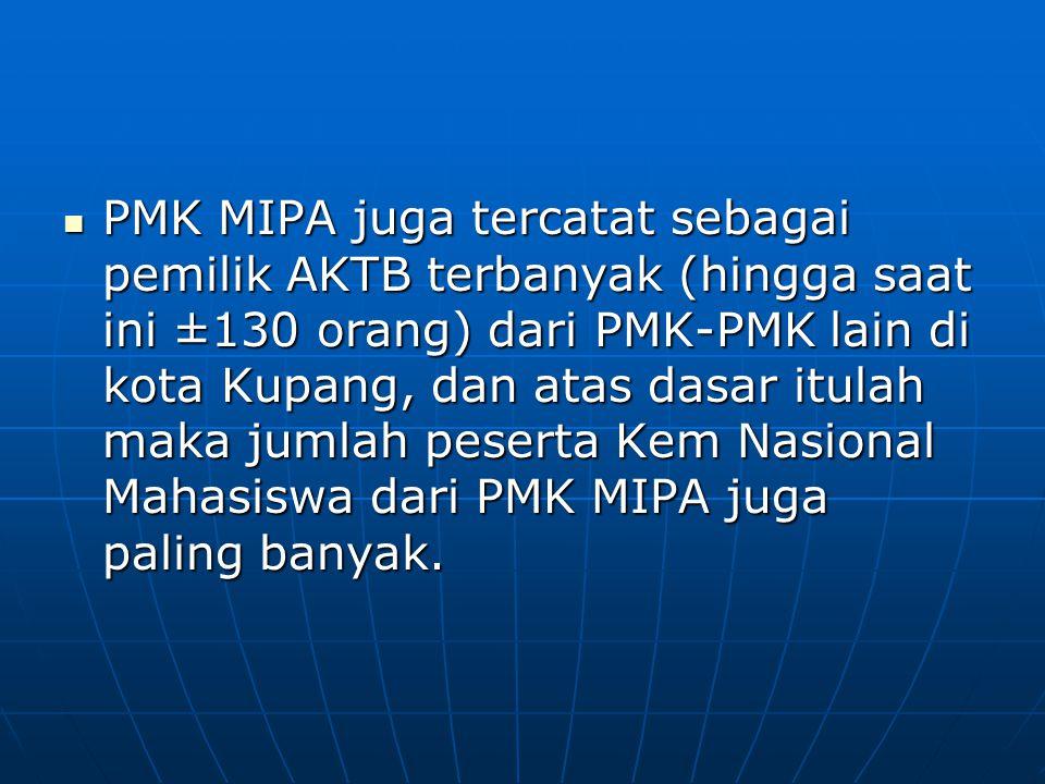 PMK MIPA juga tercatat sebagai pemilik AKTB terbanyak (hingga saat ini ±130 orang) dari PMK-PMK lain di kota Kupang, dan atas dasar itulah maka jumlah