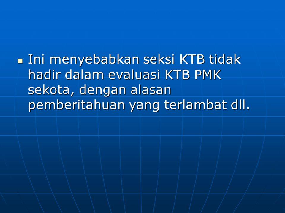 Ini menyebabkan seksi KTB tidak hadir dalam evaluasi KTB PMK sekota, dengan alasan pemberitahuan yang terlambat dll. Ini menyebabkan seksi KTB tidak h