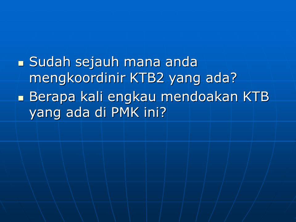 Sudah sejauh mana anda mengkoordinir KTB2 yang ada? Sudah sejauh mana anda mengkoordinir KTB2 yang ada? Berapa kali engkau mendoakan KTB yang ada di P