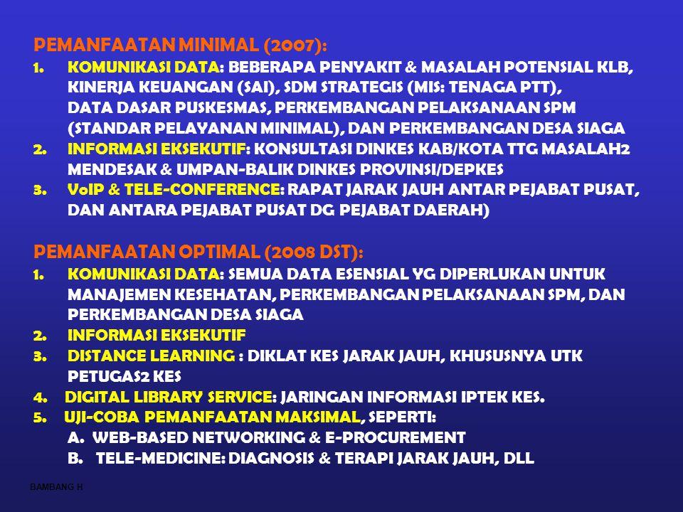 PEMANFAATAN MINIMAL (2007): 1.KOMUNIKASI DATA: BEBERAPA PENYAKIT & MASALAH POTENSIAL KLB, KINERJA KEUANGAN (SAI), SDM STRATEGIS (MIS: TENAGA PTT), DAT