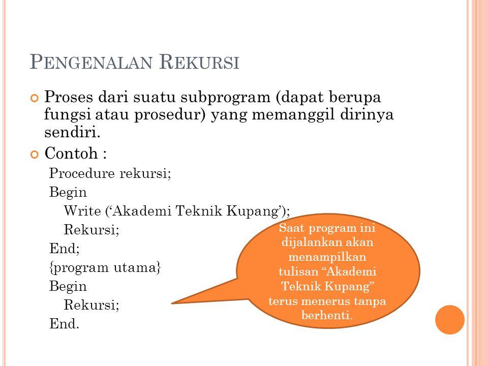 P ENGENALAN R EKURSI Proses dari suatu subprogram (dapat berupa fungsi atau prosedur) yang memanggil dirinya sendiri. Contoh : Procedure rekursi; Begi