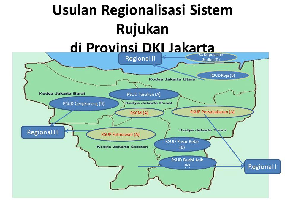 Usulan Regionalisasi Sistem Rujukan di Provinsi DKI Jakarta RSUD Koja (B) RSUP Persahabatan (A) RSUD Pasar Rebo (B) RSUD Budhi Asih (B) RSUD Cengkaren
