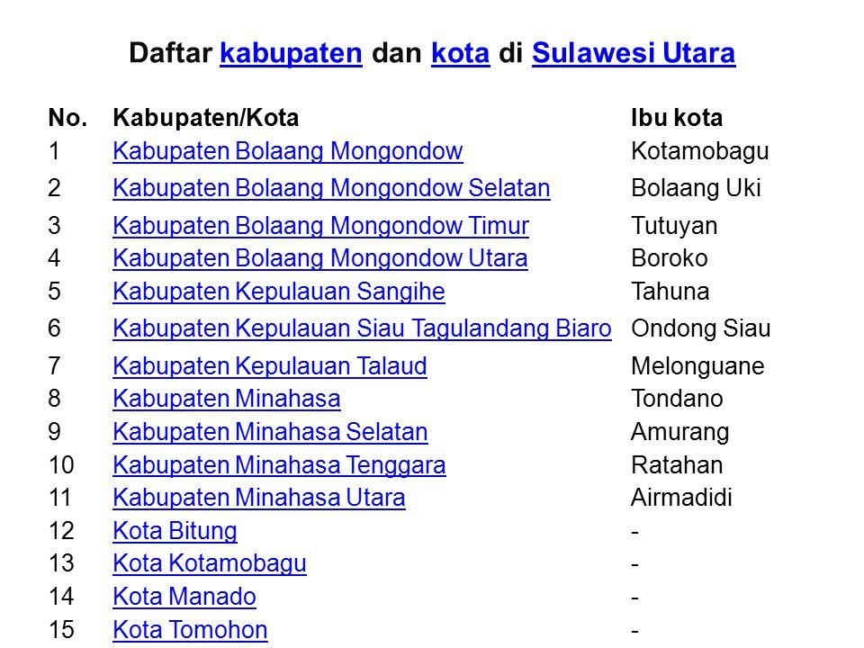 Daftar kabupaten dan kota di Sulawesi UtarakabupatenkotaSulawesi Utara No.Kabupaten/KotaIbu kota 1Kabupaten Bolaang MongondowKotamobagu 2Kabupaten Bol