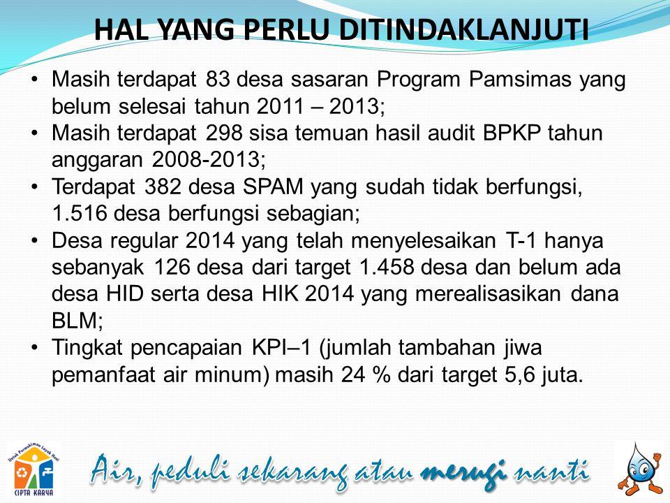 HAL YANG PERLU DITINDAKLANJUTI Masih terdapat 83 desa sasaran Program Pamsimas yang belum selesai tahun 2011 – 2013; Masih terdapat 298 sisa temuan ha