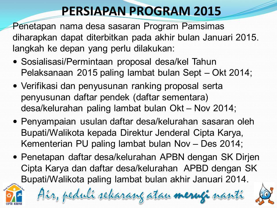 PERSIAPAN PROGRAM 2015 Penetapan nama desa sasaran Program Pamsimas diharapkan dapat diterbitkan pada akhir bulan Januari 2015.