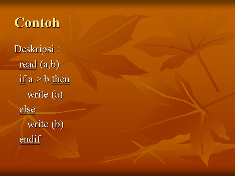 Contoh Deskripsi : read (a,b) read (a,b) if a > b then if a > b then write (a) write (a) else else write (b) write (b) endif endif