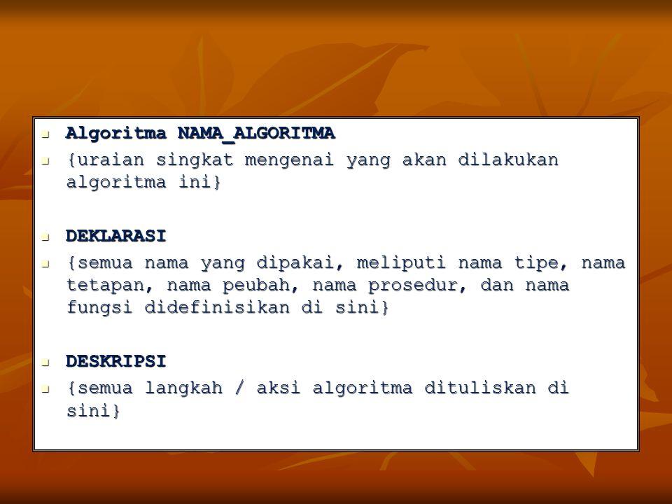 Algoritma NAMA_ALGORITMA Algoritma NAMA_ALGORITMA {uraian singkat mengenai yang akan dilakukan algoritma ini} {uraian singkat mengenai yang akan dilak