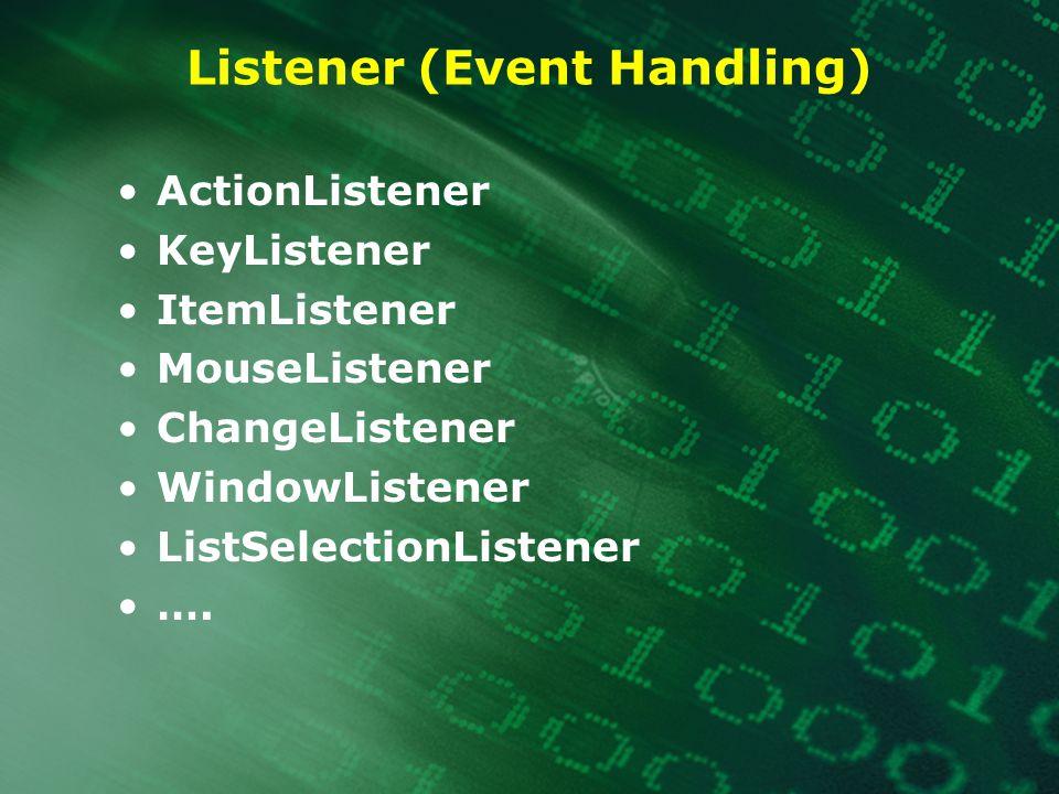 Listener (Event Handling) ActionListener KeyListener ItemListener MouseListener ChangeListener WindowListener ListSelectionListener ….