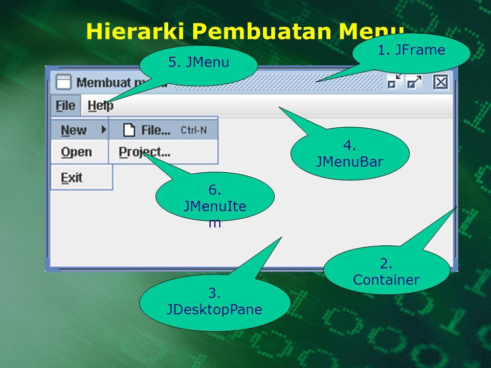 Hierarki Pembuatan Menu 1. JFrame 2. Container 3. JDesktopPane 4. JMenuBar 5. JMenu 6. JMenuIte m