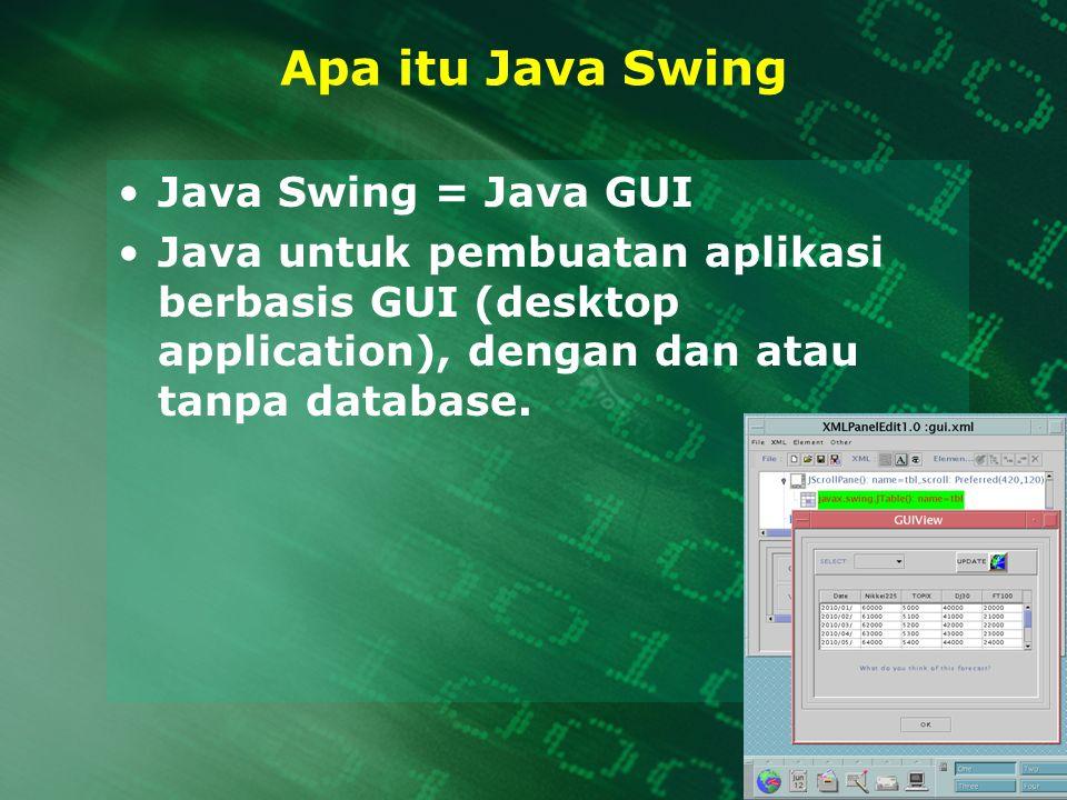 Apa itu Java Swing Java Swing = Java GUI Java untuk pembuatan aplikasi berbasis GUI (desktop application), dengan dan atau tanpa database.