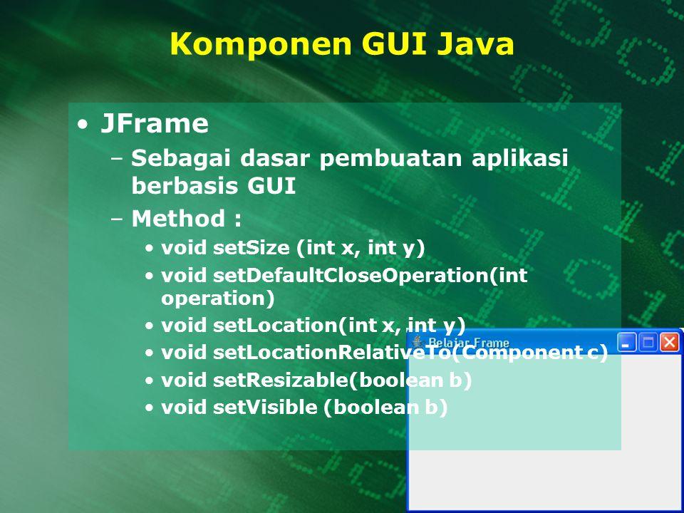 Komponen GUI Java JFrame –Sebagai dasar pembuatan aplikasi berbasis GUI –Method : void setSize (int x, int y) void setDefaultCloseOperation(int operat
