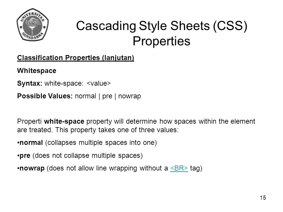 Cascading Style Sheets (CSS) Properties Classification Properties (lanjutan) Whitespace Syntax: white-space: Possible Values: normal | pre | nowrap Pr
