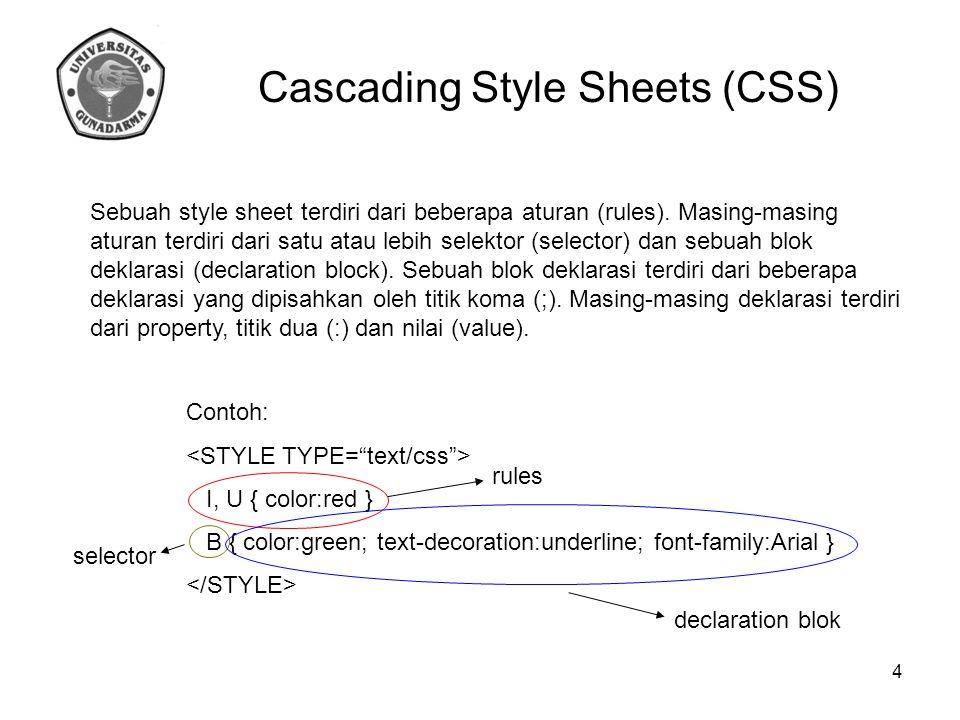 Sebuah style sheet terdiri dari beberapa aturan (rules). Masing-masing aturan terdiri dari satu atau lebih selektor (selector) dan sebuah blok deklara
