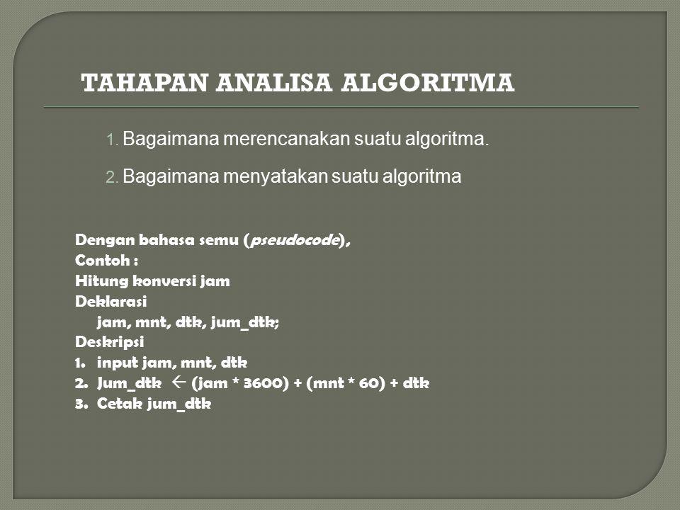 1. Bagaimana merencanakan suatu algoritma. 2. Bagaimana menyatakan suatu algoritma Dengan bahasa semu (pseudocode), Contoh : Hitung konversi jam Dekla