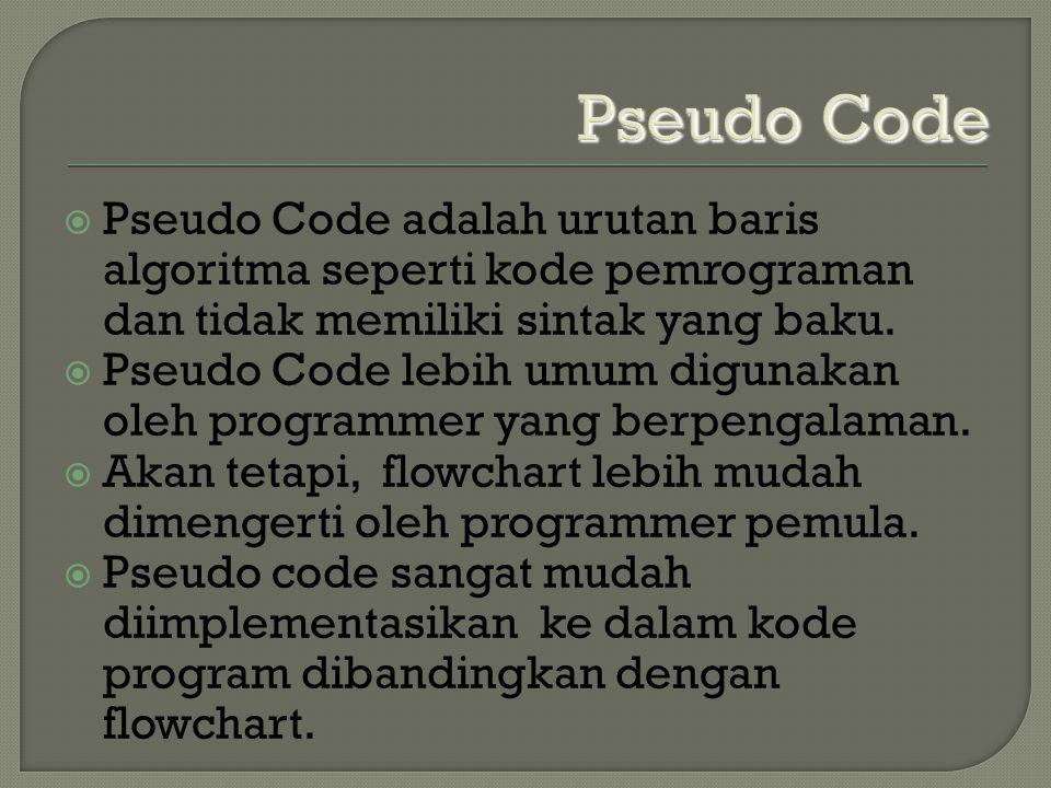 Pseudo Code  Pseudo Code adalah urutan baris algoritma seperti kode pemrograman dan tidak memiliki sintak yang baku.  Pseudo Code lebih umum digunak