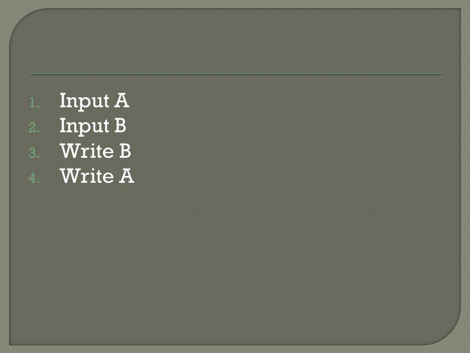 1. Input A 2. Input B 3. Write B 4. Write A