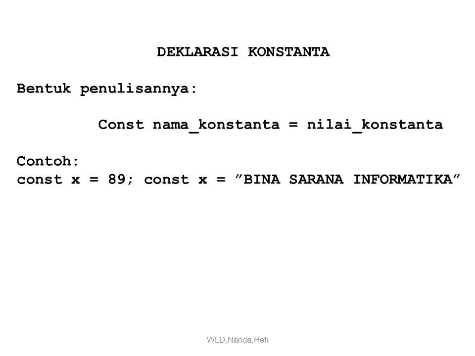 DEKLARASI KONSTANTA Bentuk penulisannya: Const nama_konstanta = nilai_konstanta Contoh: const x = 89; const x = BINA SARANA INFORMATIKA WLD,Nanda,Hefi