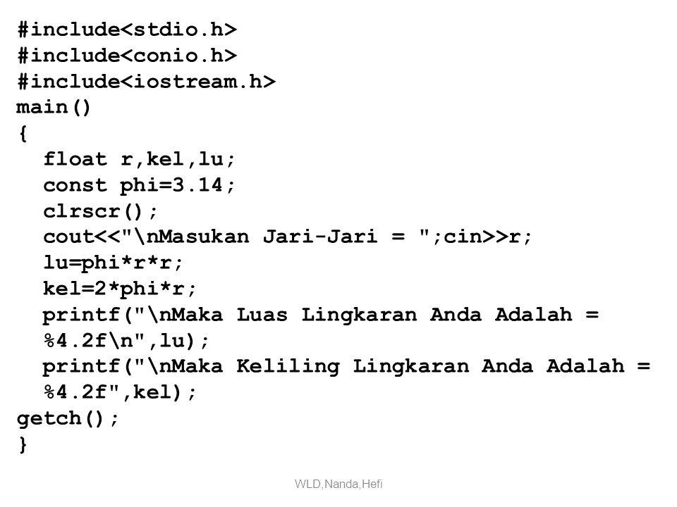 #include main() { float r,kel,lu; const phi=3.14; clrscr(); cout >r; lu=phi*r*r; kel=2*phi*r; printf( \nMaka Luas Lingkaran Anda Adalah = %4.2f\n ,lu); printf( \nMaka Keliling Lingkaran Anda Adalah = %4.2f ,kel); getch(); } WLD,Nanda,Hefi