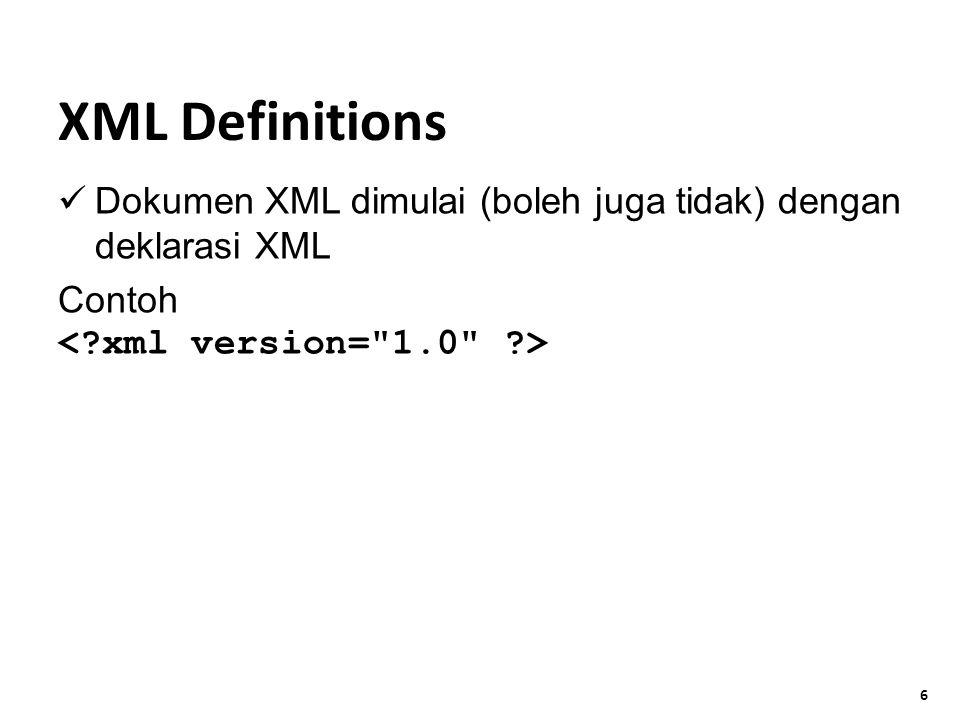 6 Dokumen XML dimulai (boleh juga tidak) dengan deklarasi XML Contoh XML Definitions