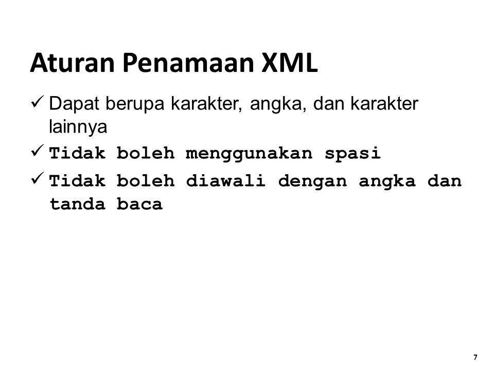 7 Dapat berupa karakter, angka, dan karakter lainnya Tidak boleh menggunakan spasi Tidak boleh diawali dengan angka dan tanda baca Aturan Penamaan XML