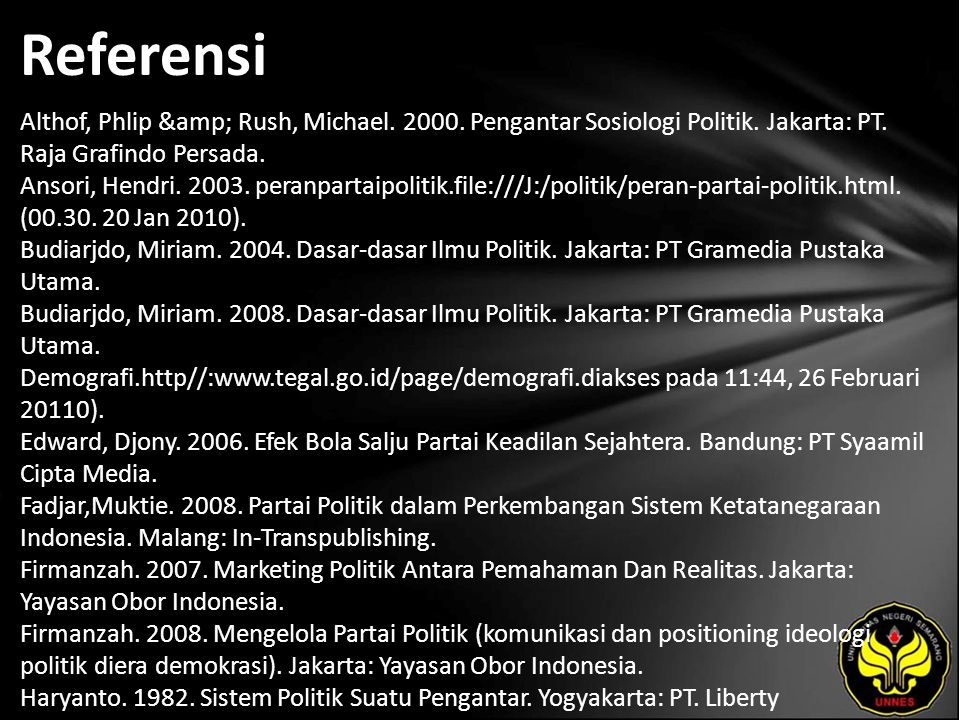 Referensi Althof, Phlip & Rush, Michael. 2000. Pengantar Sosiologi Politik. Jakarta: PT. Raja Grafindo Persada. Ansori, Hendri. 2003. peranpartaip