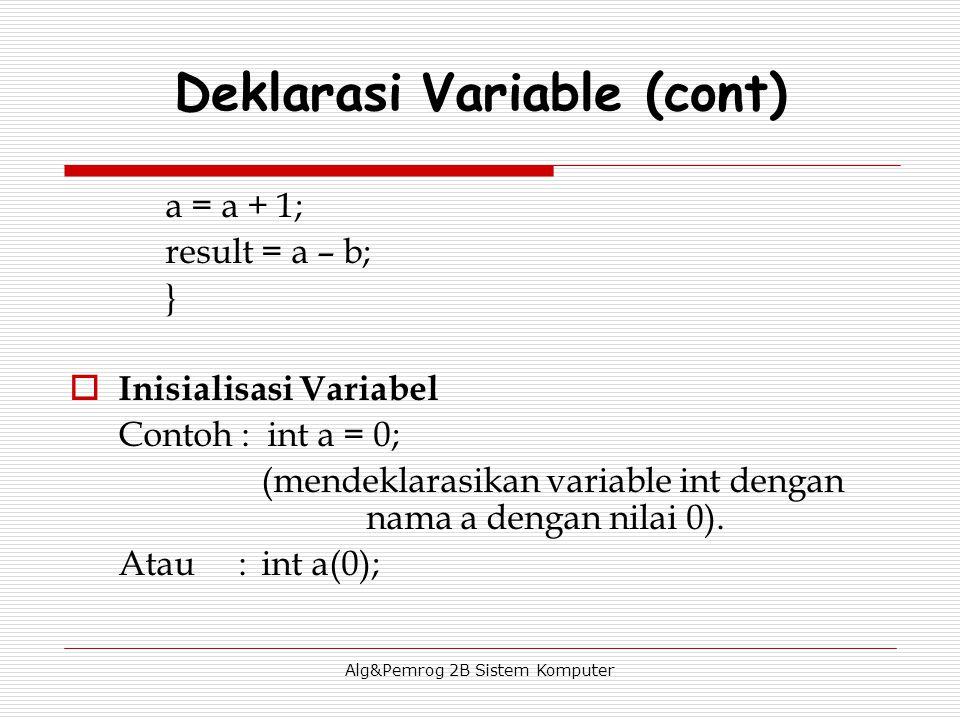 Alg&Pemrog 2B Sistem Komputer a = a + 1; result = a – b; }  Inisialisasi Variabel Contoh : int a = 0; (mendeklarasikan variable int dengan nama a dengan nilai 0).