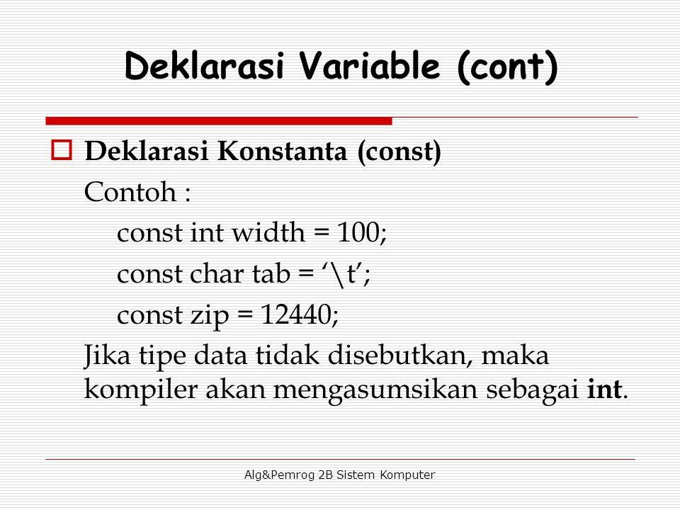 Alg&Pemrog 2B Sistem Komputer  Deklarasi Konstanta (const) Contoh : const int width = 100; const char tab = '\t'; const zip = 12440; Jika tipe data tidak disebutkan, maka kompiler akan mengasumsikan sebagai int.