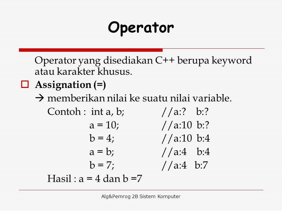 Alg&Pemrog 2B Sistem Komputer Operator Operator yang disediakan C++ berupa keyword atau karakter khusus.  Assignation (=)  memberikan nilai ke suatu