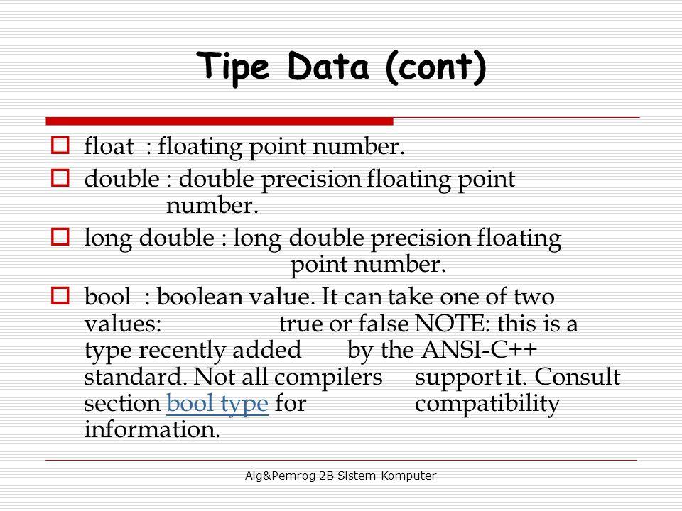 Alg&Pemrog 2B Sistem Komputer  float : floating point number.  double : double precision floating point number.  long double : long double precisio