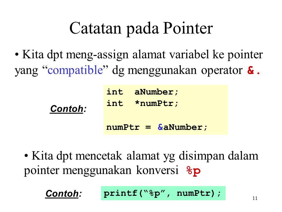 11 Catatan pada Pointer Kita dpt mencetak alamat yg disimpan dalam pointer menggunakan konversi %p printf( %p , numPtr); Contoh: Kita dpt meng-assign alamat variabel ke pointer yang compatible dg menggunakan operator &.