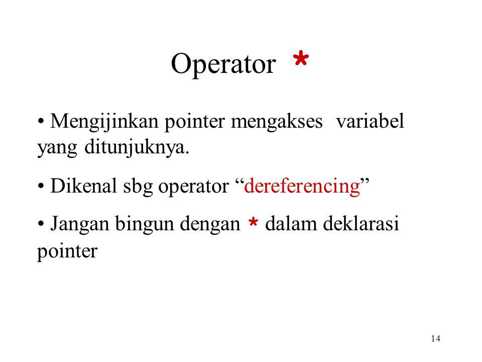 """14 Operator * Mengijinkan pointer mengakses variabel yang ditunjuknya. Dikenal sbg operator """"dereferencing"""" Jangan bingun dengan * dalam deklarasi poi"""