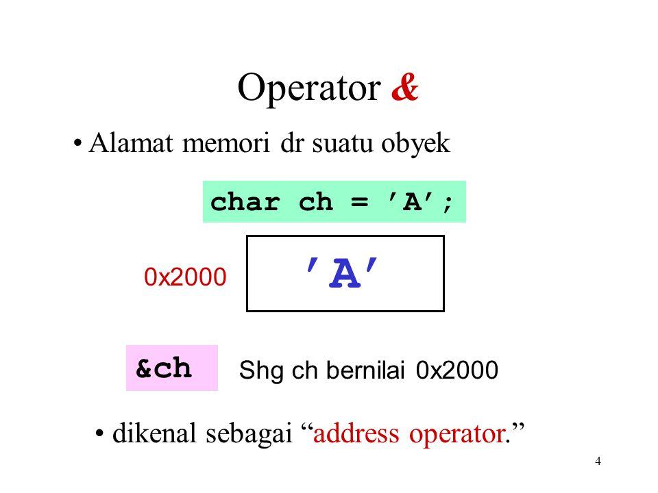 4 Operator & Alamat memori dr suatu obyek dikenal sebagai address operator. &ch Shg ch bernilai 0x2000 char ch = 'A'; 'A' 0x2000