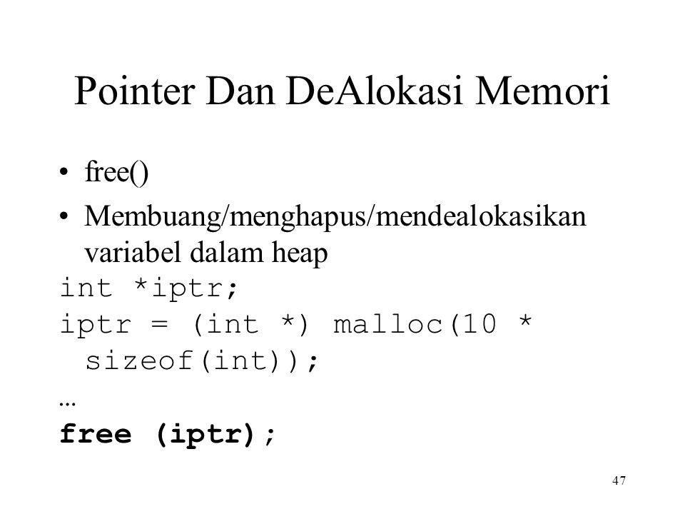 Pointer Dan DeAlokasi Memori free() Membuang/menghapus/mendealokasikan variabel dalam heap int *iptr; iptr = (int *) malloc(10 * sizeof(int)); … free