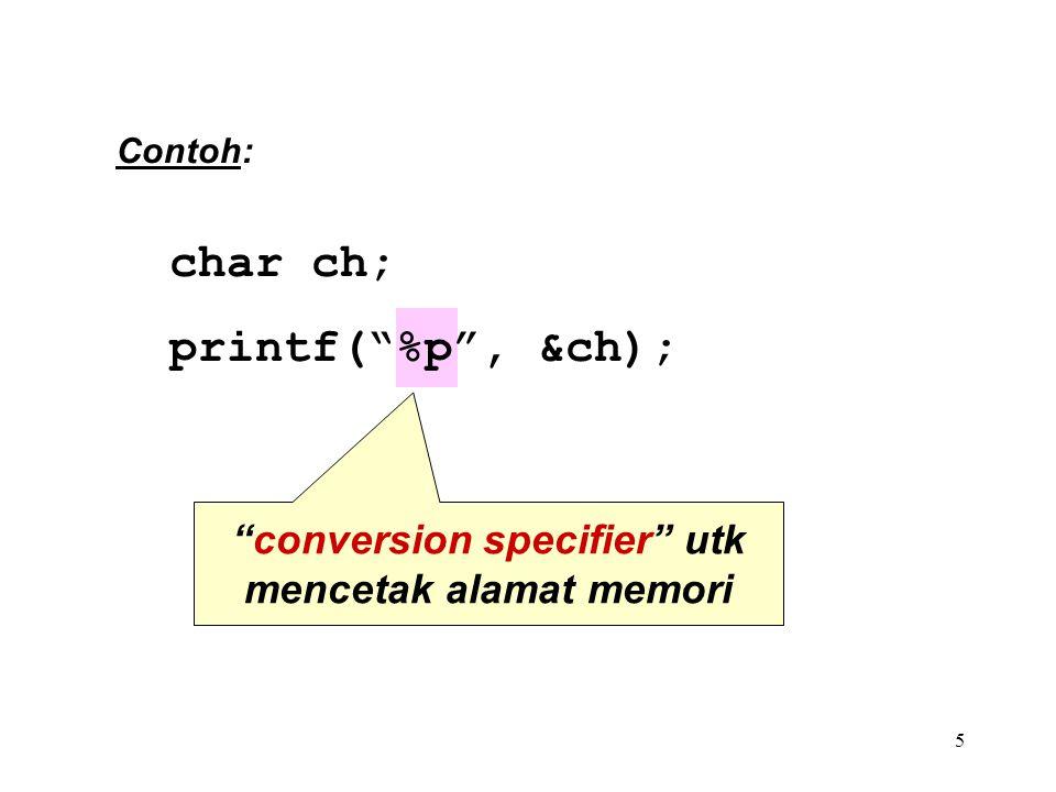 5 conversion specifier utk mencetak alamat memori char ch; printf( %p , &ch); Contoh: