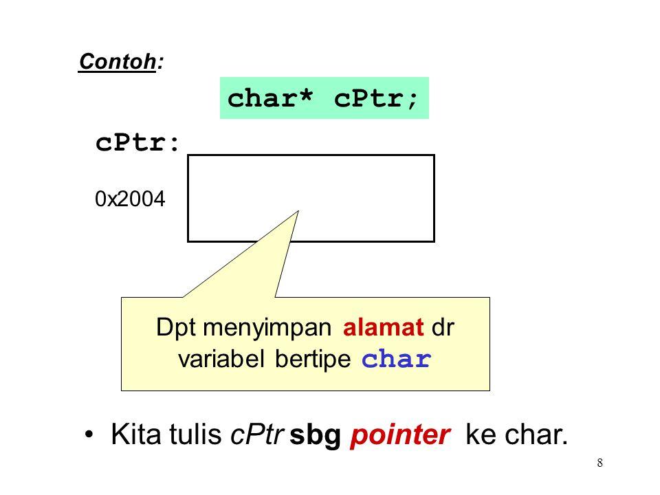 8 cPtr: char* cPtr; Contoh: Kita tulis cPtr sbg pointer ke char. 0x2004 Dpt menyimpan alamat dr variabel bertipe char