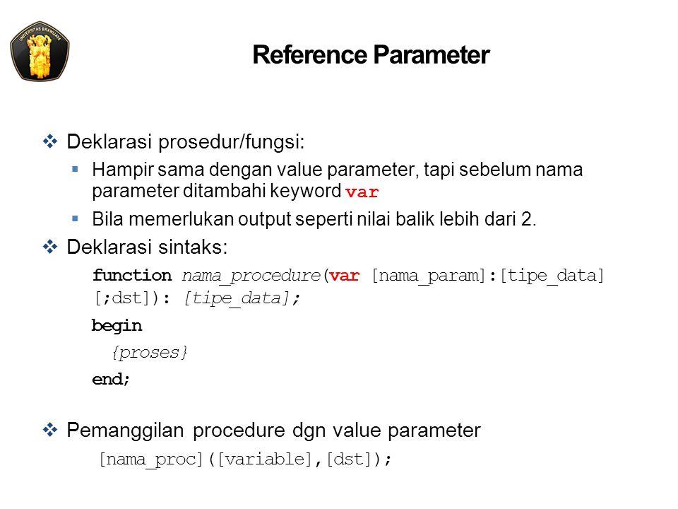 Reference Parameter  Deklarasi prosedur/fungsi:  Hampir sama dengan value parameter, tapi sebelum nama parameter ditambahi keyword var  Bila memerlukan output seperti nilai balik lebih dari 2.
