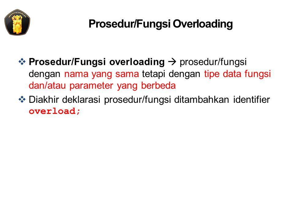 Prosedur/Fungsi Overloading  Prosedur/Fungsi overloading  prosedur/fungsi dengan nama yang sama tetapi dengan tipe data fungsi dan/atau parameter yang berbeda  Diakhir deklarasi prosedur/fungsi ditambahkan identifier overload;