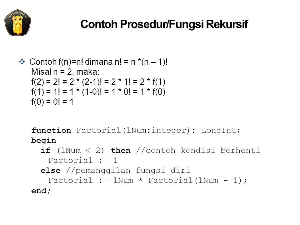 Contoh Prosedur/Fungsi Rekursif  Contoh f(n)=n! dimana n! = n *(n – 1)! Misal n = 2, maka: f(2) = 2! = 2 * (2-1)! = 2 * 1! = 2 * f(1) f(1) = 1! = 1 *
