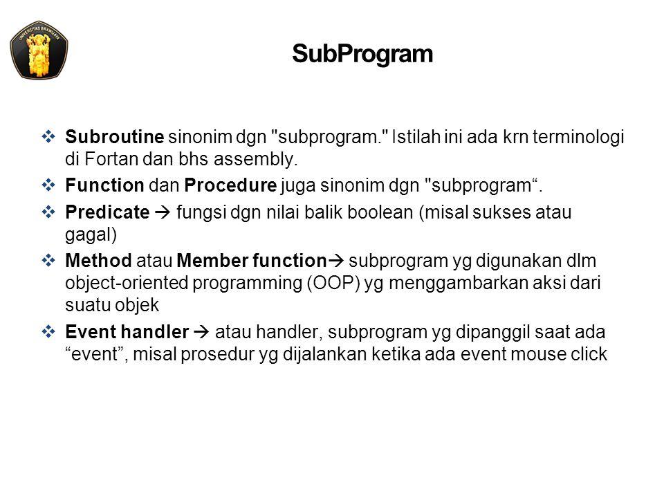 SubProgram  Subroutine sinonim dgn subprogram. Istilah ini ada krn terminologi di Fortan dan bhs assembly.