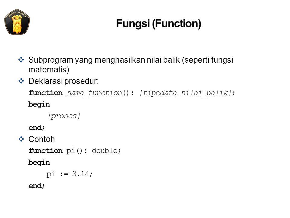 Fungsi (Function)  Subprogram yang menghasilkan nilai balik (seperti fungsi matematis)  Deklarasi prosedur: function nama_function(): [tipedata_nilai_balik]; begin {proses} end;  Contoh function pi(): double; begin pi := 3.14; end;