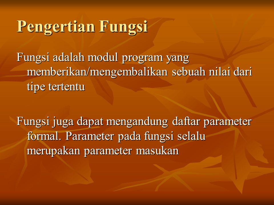 Pengertian Fungsi Fungsi adalah modul program yang memberikan/mengembalikan sebuah nilai dari tipe tertentu Fungsi juga dapat mengandung daftar parameter formal.