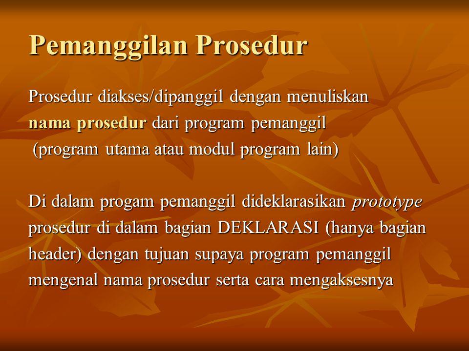 Pemanggilan Fungsi Fungsi diakses dengan memanggil namanya dari program utama diikuti dengan daftar paramater aktual (jika ada).