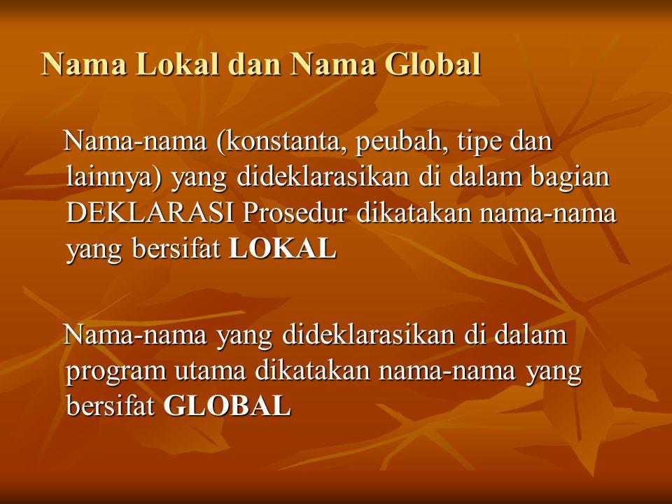 Nama Lokal dan Nama Global Nama-nama (konstanta, peubah, tipe dan lainnya) yang dideklarasikan di dalam bagian DEKLARASI Prosedur dikatakan nama-nama yang bersifat LOKAL Nama-nama (konstanta, peubah, tipe dan lainnya) yang dideklarasikan di dalam bagian DEKLARASI Prosedur dikatakan nama-nama yang bersifat LOKAL Nama-nama yang dideklarasikan di dalam program utama dikatakan nama-nama yang bersifat GLOBAL Nama-nama yang dideklarasikan di dalam program utama dikatakan nama-nama yang bersifat GLOBAL