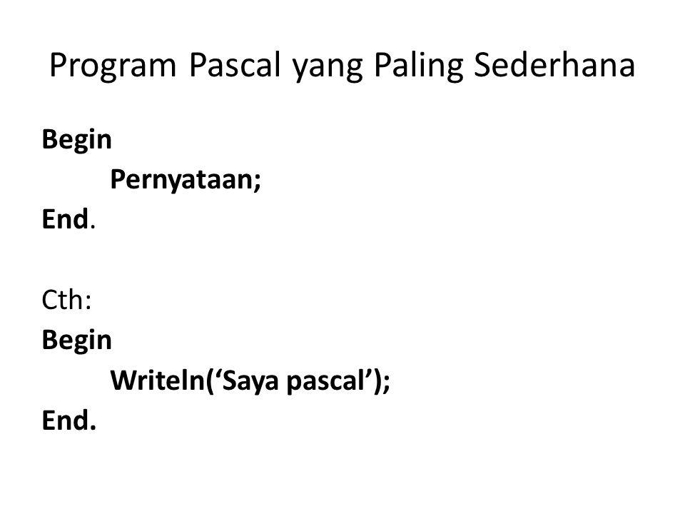 Penulisan Program Pascal Contoh 1 Contoh 2 Begin writeln('Saya Pascal'); Writeln('Saya mulai mengenal Pascal'); End.