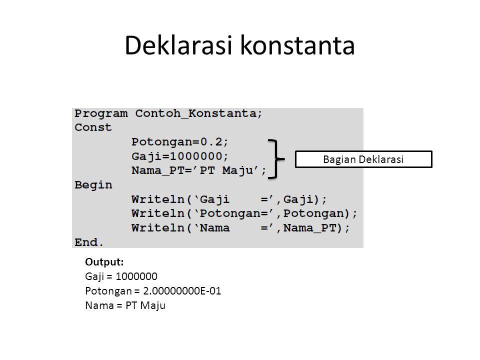 Deklarasi konstanta Bagian Deklarasi Output: Gaji = 1000000 Potongan = 2.00000000E-01 Nama = PT Maju